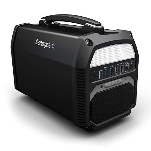 Charge Tech Portable Battery Power Station, Bluetooth Speaker, and Flashlight - 124,000 mAh Electric Power Generator with Outlets, USB, and LED Light Panel