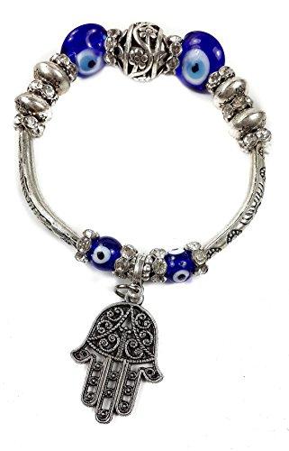Nazareth Store - Pulsera de mano de Fátima con cristales azules y cuentas contra el mal de ojo, judaísmo de Israel, amuleto de la suerte