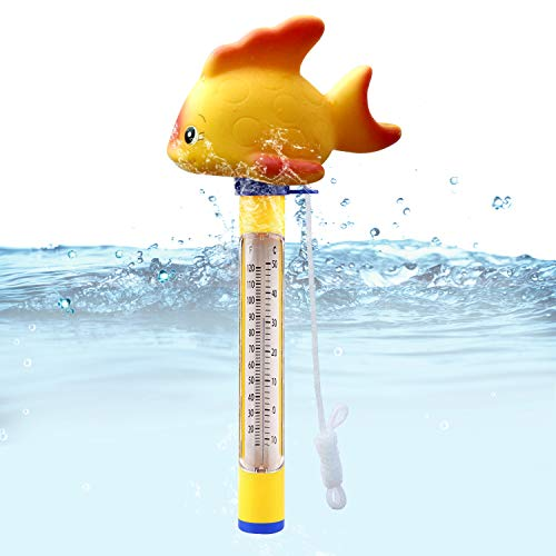 Blufree Floating Pool Thermometer, Swimming Pool Thermometer with String, Floating Water Thermometer for Swimming Pool, Bath Water, Spas, Hot Tubs, Aquariums & Ponds