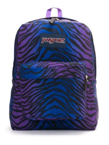 JanSport SuperBreak Backpack (Black/Prism Purple Flashback Zebra)