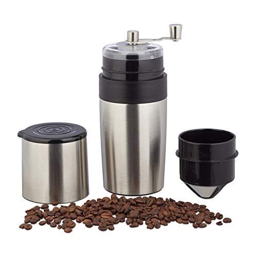 Relaxdays Manuelle Kaffeemühle 3in1, Keramikmahlwerk, Reisekaffeemaschine, Dauerfilter, Thermo-Becher, unterwegs, silber
