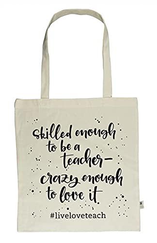 """Meine """"Heute schaff ich alles!""""-Tasche - """"live - love - teach"""": Fairtrade-zertifizierte Tragetasche aus 100% Bio-Baumwolle mit langen Henkeln"""