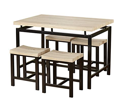 Target Marketing Systems Delano Mid Century Modern Dining Table Set with 4 Stools, 5 Piece, Black