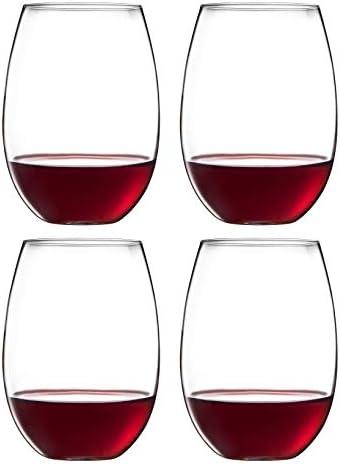 Royalty Art European Stemless White Wine Cups 4 Piece Set Classic Craftsmanship Elegant Hosting product image