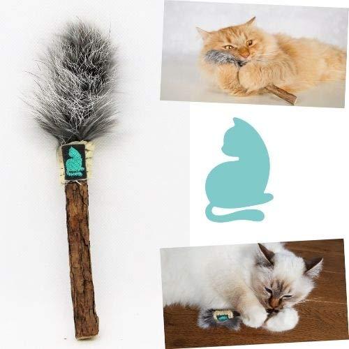 Barfeli Matatabi Katzenstab mit Kaninchenfell - 100% Naturprodukt aus extra dickem Matatabi Holz - Katzen Zahnbürste - Katzenspielzeug - Katzenminze