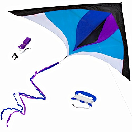 Best Delta Kite, Easy Fly for Kids and Beginners, Single Line w Tail Ribbons, Stunning Blue & Purple, Materials, Large, Meticulous Design and Testing + Guarantee + Bonuses!