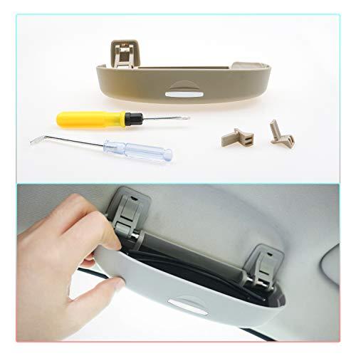 CDEFG Auto Custodia per Occhiali ABS Auto Anteriore Sunglasses Holder Box per Lexus ES NX RX UX Portaocchiali Auto (Beige)