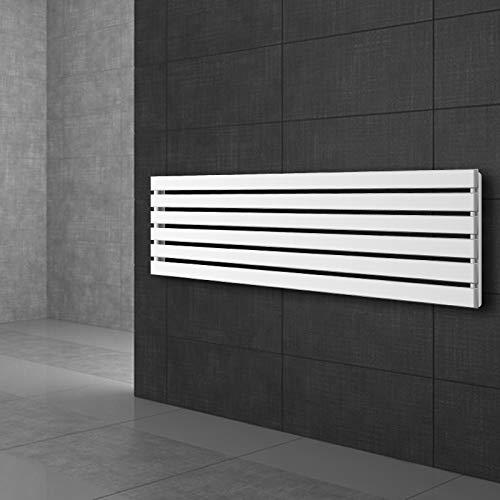 ECD Germany Radiador toallero para baño - 370 x 1800 mm - Blanco - Plano - Diseño vertical - Toallero de agua - Radiador de diseño - Calentador de baño - Calefaccion de pared - No eléctrico
