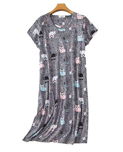 Camisón Mujer Verano Camisones de algodón Manga Corta Ropa de Dormir Elegante Grande Talla