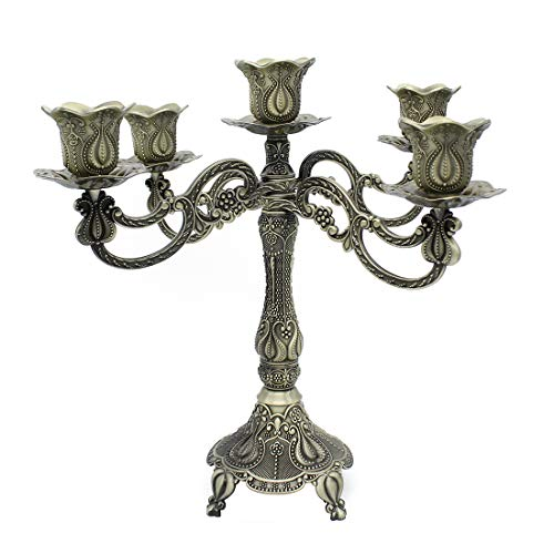 MMEXPER 5-Candle Metal Candelabra Centerpiece Candle Stand Home Decoration for Event, Wedding, Party, Tulip Pattern-Bronze