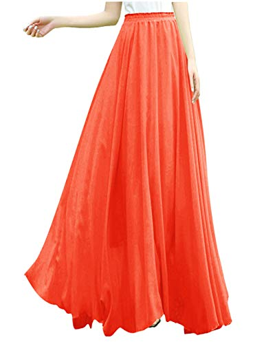 v28 Women Full/Ankle Length Elastic Retro Maxi Chiffon Long Skirt (3X,Orange)