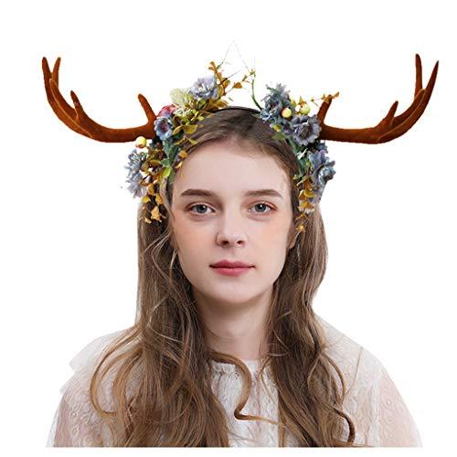 Díadema Diadema Flores Mujer de Cornamenta, Corona de Flores de Navidad - FossenMA Accesorio de Pelo Peinado Niñas para Bodas/Invitada/Playa