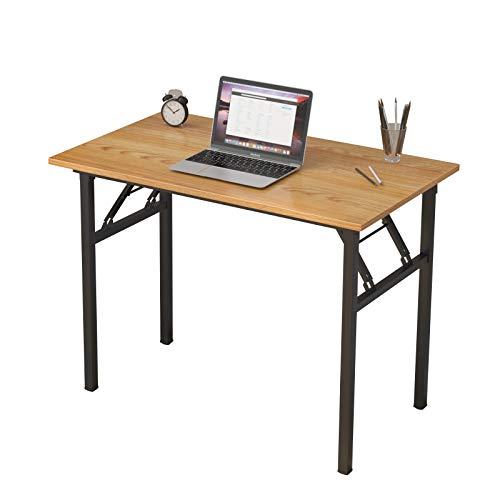 SogesHome Computertisch Keine Montage Klapptisch 100 * 60 cm Schreibtisch Schreibtisch Schreibtisch Computerarbeitsplätze PC-Schreibtisch Teakholzplatte und schwarzer Rahmen SH-LP-AC5YB-100
