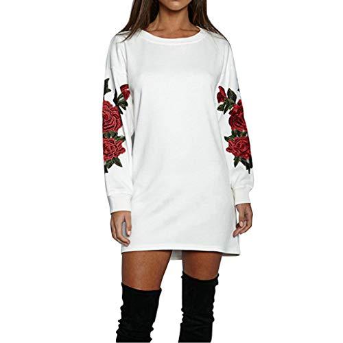 Dasongff Damesjurk, herfst en winter, casual losse jurk, roze, geborduurd, gebreide jurk, partyjurk, casual kleding, avondjurk, feestjurk, damesjurk, jurk voor vrouwen, boho, jurk, lange pullover Large wit