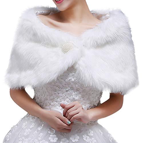 Amosfun Chal de lana nupcial accesorios de vestido de novia chal cálido invierno falso pelo de conejo capa para mujer niña...
