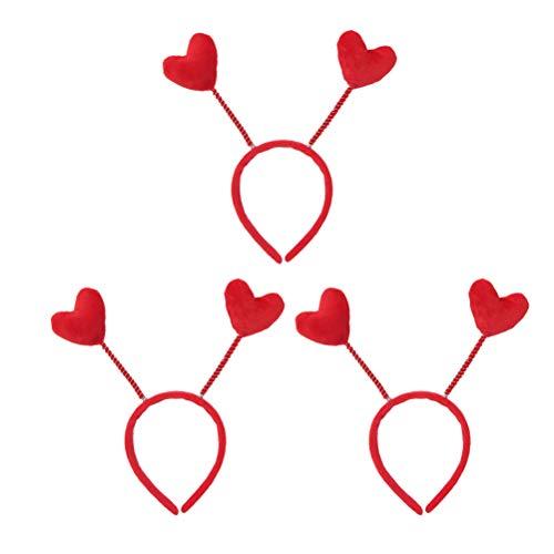Lurrose 3pcs Loving Heart Antenna Headband Valentine's Day Hair Hoop Bobble Wobble Hair Bands Head Bopper for Women Girls