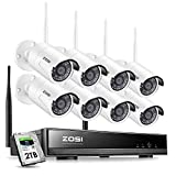 ZOSI 8CH 1080P Outdoor Wireless Security Cameras System 2TB Hard Drive ,H.265+ 8Channel 1080P WiFi NVR Recorder and 8pcs 2.0MP Wireless Weatherproof  IP Surveillance Cameras with 65ft Night Vision