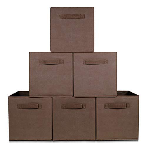 Opvouwbare Kast Organizers - Set: 6 Stuks - Multifunctionele Opberg Box, Doos, Mand, Vakken - Opbergsysteem voor Kleding, Sokken, Ondergoed, Speelgoed, Badkamer, Keuken - 20 L - 27x27x28 cm - Bruin