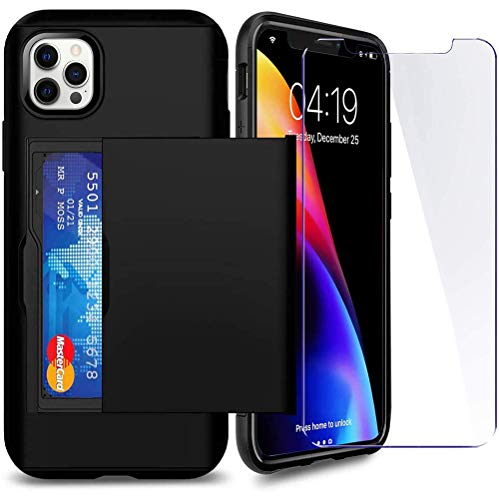 SUPBEC Compatible for iPhone 12 Pro Max Case with Card Holder and[ Screen Protector Tempered Glass x2Pcs][ Protective Series] Shockproof Silicone for iPhone 12 ProMax Wallet Case Cover-Black-6.7""