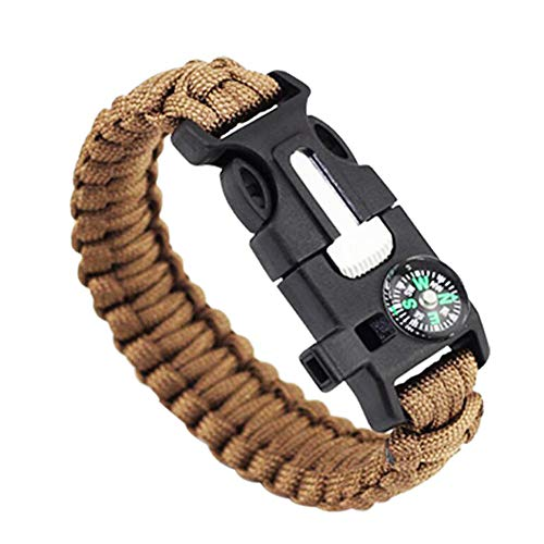 LF Outdoor Rope Paracord Survival Bracelet 6 in 1 Compass Whistle Fire Starters thermometer Bottle Opener Rescue Rope Cuff Bracelets Sos Emergency for Outdoor Hiking Camping Hunting Activities