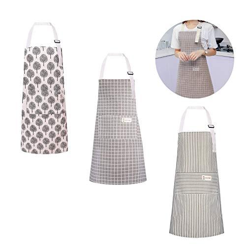 Happylohas Sterne Schürze mit Tasche Baumwolle Leinen Damen Küchenschürze Latzschürze Kochschürze zum Kochen oder Backen beige