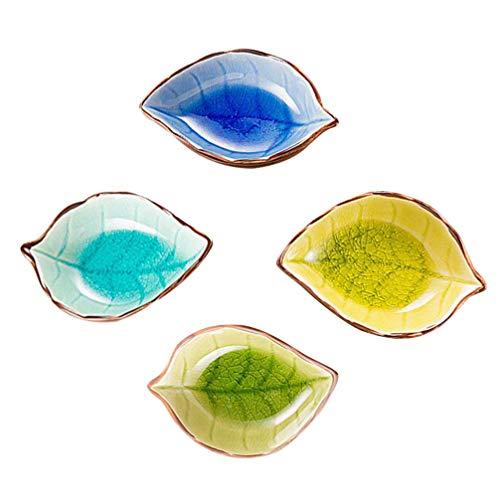 Cabilock 4 Stück Keramiksauce Gericht Dip Schalen Blattform Gewürzgericht Serviergericht Gewürzschüssel Sushi Soja Gerichte für Snack Sushi Obst Vorspeise Dessert Zufälliges Muster