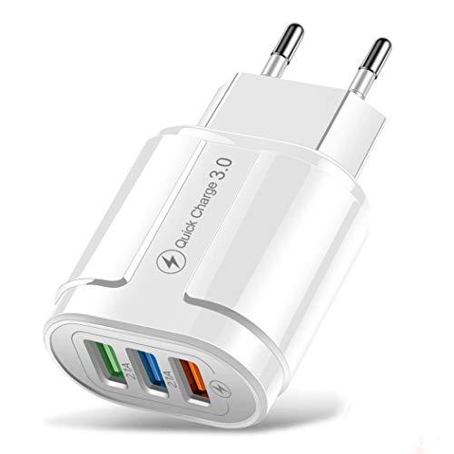 Cargador de Pared USB 2.1A, Cargador de Soporte de Carga con Enchufe USB, Cargador de Ladrillo, Cargador de Cubo, Compatible con iPhone 11 / XS/XR/X / 8/7/6, Samsung, Android, LG, Moto (Blanco)