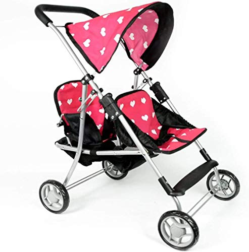 The New York Doll Collection First Doll Twin Stroller - Cutest Heart Design Baby Doll Strollers - Great Toy Gift for...