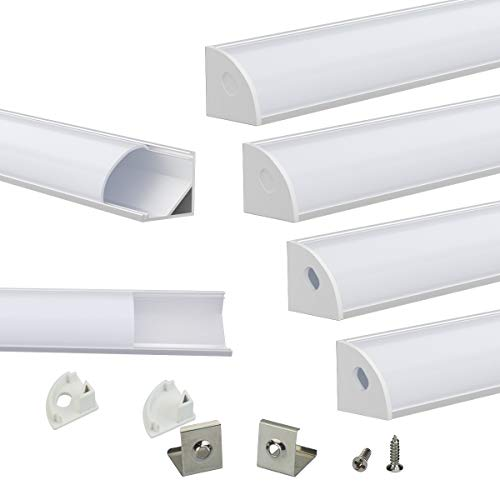 Muzata V-Shape LED Channel System with Milky White Cover Lens Frosted Diffuser,Silver Aluminum Extrusion Profile Housing Track for 3528,5050,5630 Strip Tape Lights V1SW 1M WW,LV1 LW1,6Pack 1M/3.3FT