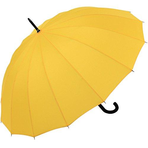 iX-brella Long - Paraguas de bastón (16 piezas, resistente a tormentas automática) Amarillo amarillo 100 cm