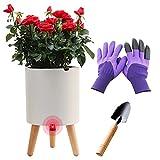 Self Watering Pots for Indoor Plant with Stand, Smart Water Shortage Alarm Flower Pot , Modern Macetas para Plantas, 7.5 Inch Indoor Planter