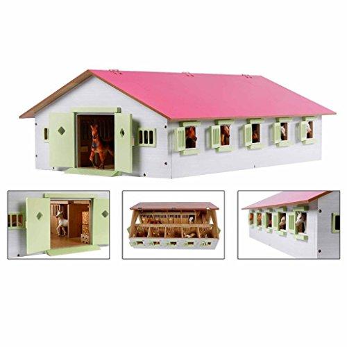 Van Manen 610188 Globe Farming - Centre équestre avec 9 Boxes pour Chevaux, en Bois, avec Toit Pliable, Rose