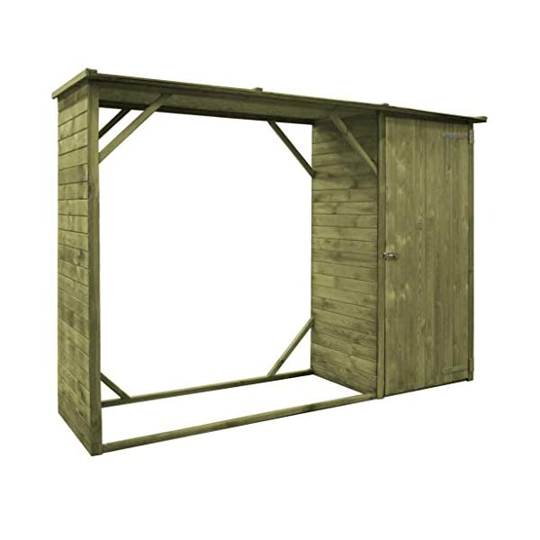 UnfadeMemory Cobertizo de Almacenamiento de Leña y Herramientas 2 en 1,Soporte para Leña,Cobertizo para Jardín,Madera de…