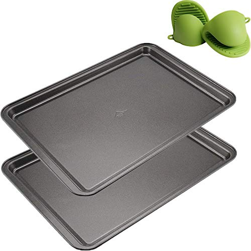 Mokpi Non-Stick Baking Pans Cookie Sheets Set for Oven Premium Baking Tray Rectangular Plate Bakeware, 14.5 x 10 x 1 Inch (2 Piece+Oven Mitts)