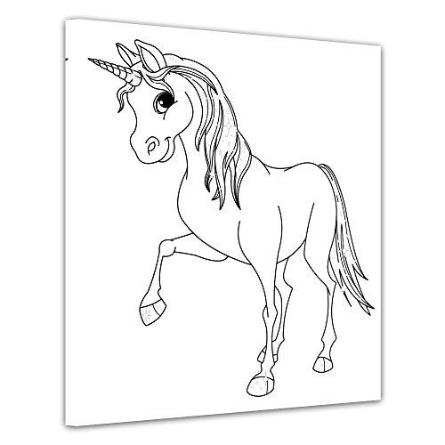 Bilderdepot24 Einhorn - Ausmalbild auf Leinwand, aufgespannt auf Rahmen - Quadrat-Format - 80x80 cm