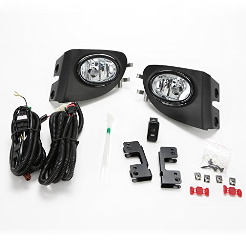 LEDIN For 2002-2005 Honda Civic Si Hatchback 3Dr Clear Fog Lights w/Bezel Switch Wire