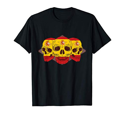 Camiseta de patriotas con tres Calaveras y Bandera de españa Camiseta