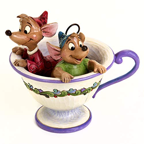 """Disney Traditions by Jim Shore Cinderella Jaq and Gus Tea Cup Figurine """"Tea For Two"""" (4016557)"""