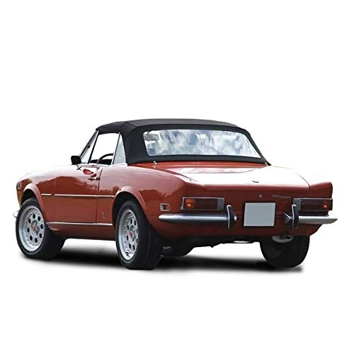 Compatible With Fiat 124 Spider CS1,1600, 1800 Convertible Soft Top 1966-1979 Pinpoint Vinyl (Black)