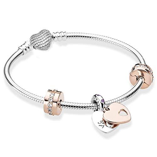 belinia prestige - Pulsera para Mujer - Pulsera con dijes de corazón,Brazalete Estilo Pandora + Charm de Oro Rosa (Cristalcoeur, 21)