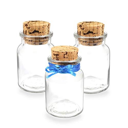 Tuuters kruidenpotjes met kurk ✿ 150 ml glazen potjes voor het bewaren ✿ Natuurlijke voorraaddoos met 100% natuurlijke kurk | Ideaal voor grote amandelen