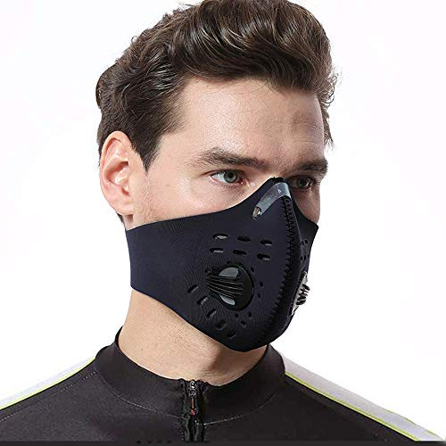KPWIN Sports Mask, Dustproof Mask Activated Carbon Filtration Exhaust Gas Anti Pollen Allergy PM2.5 Workout Running Motorcycle Cycling Mask