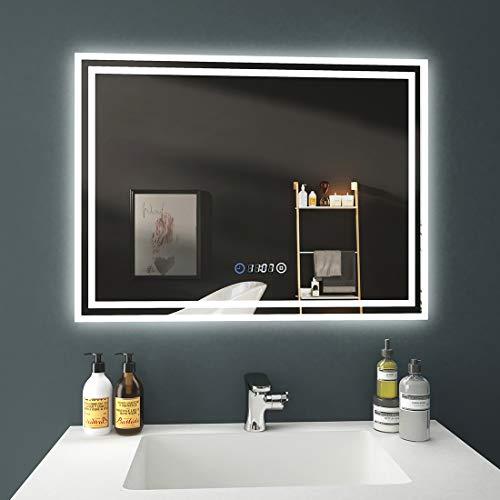 EMKE LED Badspiegel, 80x60cm Badezimmerspiegel mit Beleuchtung 3 Lichtfarbe 3000-6400K kaltweiß Neutral Warmweiß Lichtspiegel Badezimmerspiegel Wandspiegel mit Touchschalter mit Uhr IP44