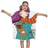 IUBBKI Hübsches Cartoon-Mädchen und Mops. - Schoßhund, Kinder-Badetuch für Jungen, Mädchen, Kinder-Kapuzen-Strandtuch, schnell trocknend für Bad/Pool/Strand-Badeschal