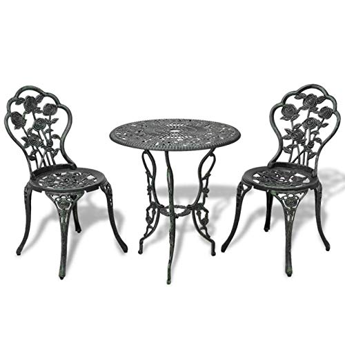QWSX Simple design 3pcs Bistro Set Garden Furniture Sets Floral Pattern Outdoor Balcony Set for Garden Patio Balcony Tables Cast Aluminium Green Durable (Color : Green)