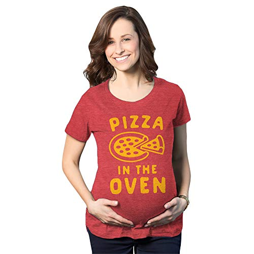 Maternity Pizza in The Oven Tshirt Funny Pregnancy Italian Food Announcement Tee (Heather Red) - 3XL