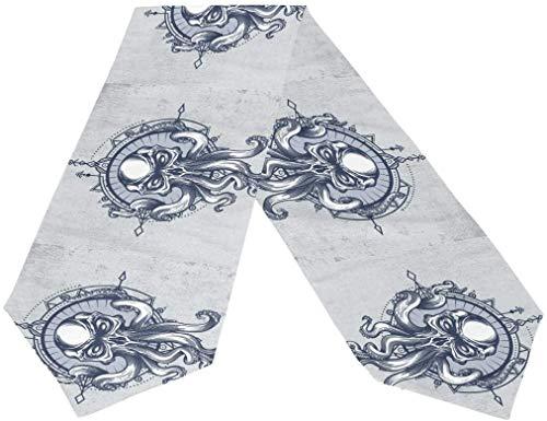 MODORSAN Camino de Mesa 13'x70',Kraken Skull Boho Rectángulo Poliéster Cubierta de Camino de Mesa de Doble Cara para decoración del hogar de Vacaciones