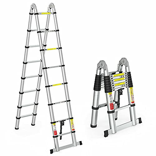 Escalera telescópica de 5 m, escalera plegable, escalera de aluminio, máxima capacidad de carga de 330 kg, multiusos, pies de goma antideslizantes, escalera de pie con 2 ruedas para uso comercial