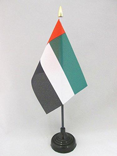 AZ FLAG TISCHFLAGGE VEREINIGTE ARABISCHE EMIRATE 15x10cm goldene splitze - VEREINIGTE ARABISCHE EMIRATE TISCHFAHNE 10 x 15 cm - flaggen