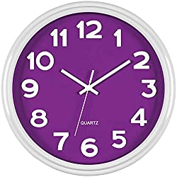 Bernhard Products Purple Wall Clock 12.5 Inch Silent Non-Ticking Modern Stylish Quartz 3D Clocks for Home Kitchen Office Bedroom Room Nursery Kids School Classroom Battery Operated Easy to Read